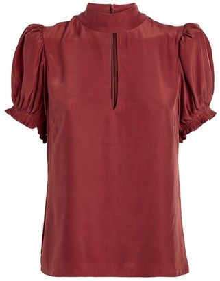 Frame Silk Puff-Sleeved Blouse