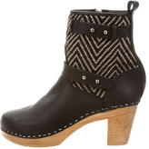 Loeffler Randall Leather & Woven Ankle Boots