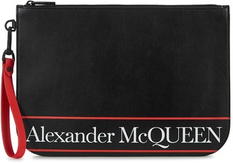 Alexander McQueen Black logo-print leather pouch