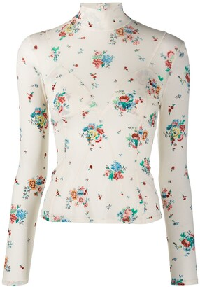 Paco Rabanne Floral Roll-Neck Top
