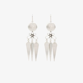 Isabel Marant Silver tone ball and flower drop earrings