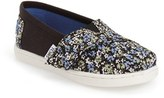 Toms Infant Girl's 'Classic - Black Canvas Ditsy Floral' Slip-On