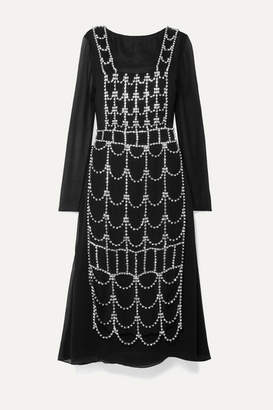 Area Open-back Layered Crystal-embellished Georgette Dress - Black