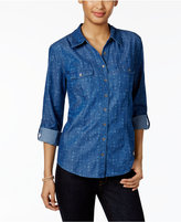 Style&Co. Style & Co Printed Denim Shirt, Only at Macy's