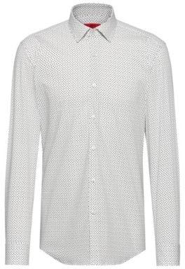 HUGO BOSS Slim-fit shirt in a micro-pint stretch-cotton blend