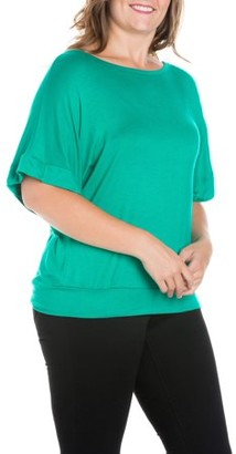 24/7 Comfort Apparel Women's Plus Size Short Sleeve Loose Fitting Dolman Top