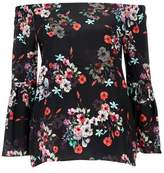 Wallis Black Floral Bardot Top