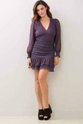 A Love Like You Smocked Crinkle Dot Mini Dress Purple S
