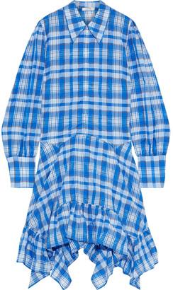 Ganni Charron Asymmetric Checked Cotton-blend Seersucker Shirt Dress