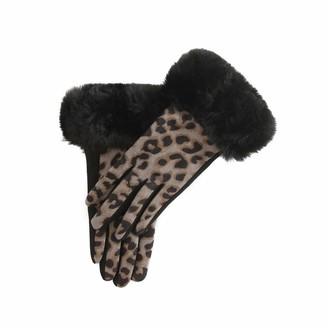 Gemini Label Accessories - Nala Leopard Fur Trim Glove