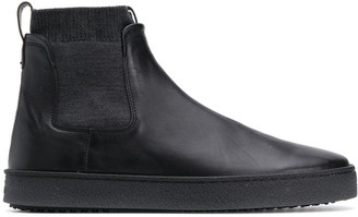 Hogan Contrast Texture Slip-On Ankle Boots
