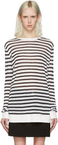 Alexander Wang Navy & Ivory Striped T-Shirt