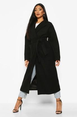 boohoo Oversized Pocket Belted Maxi Wool Look Coat
