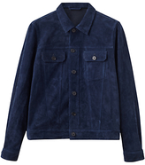 Jigsaw Kingsly Suede Trucker Jacket, Azzure Blue