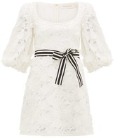 Zimmermann Super Eight Linen-blend Guipure-lace Mini Dress - Womens - Ivory