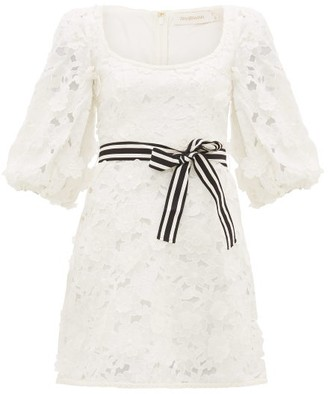 Zimmermann Super Eight Linen-blend Guipure-lace Mini Dress - Ivory