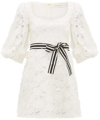 Zimmermann Super Eight Linen-blend Guipure-lace Mini Dress - Womens - Ivory