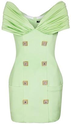 Balmain Embellished stretch-crepe minidress