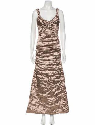 Nicole Miller Scoop Neck Long Dress Gold
