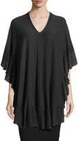 Max Studio Ruffled-Trim Knit Poncho