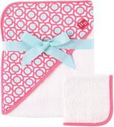 Luvable Friends Pink Lattice Hooded Towel & Washcloth