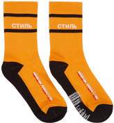 Heron Preston Orange and Black Style Socks