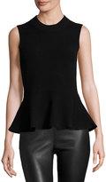 Veronica Beard Billie Sleeveless Cashmere Peplum Top, Solid Black