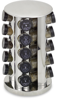 Bed Bath & Beyond Kamenstein® Stainless Steel 20-Jar Filled Revolving Spice Rack Tower