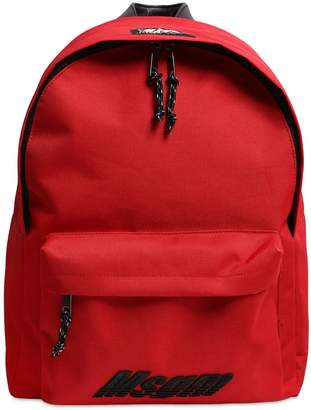 MSGM LOGO EMBROIDERED CANVAS BACKPACK