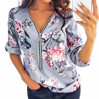 Eledobby Womens V Neck Tops with 1/2 Zipper Long Sleeve T Shirts with Cute Patterns Ladies Fashion Tunic Tops Stylish Casual Lounge Wear Autumn Clothes Gray M