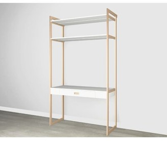 Martha Stewart California Closets The Everyday System Height Adjustable Standing Desk with Hutch and Built in Outlets Color: Perry Street White Wood