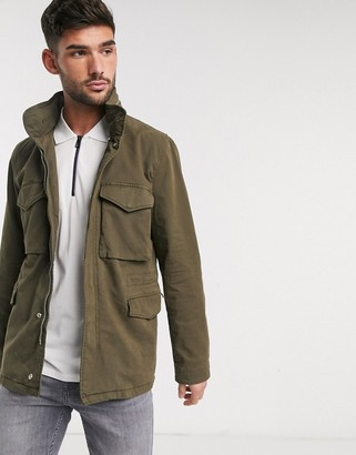 Paul Smith field jacket with zip detail in khaki