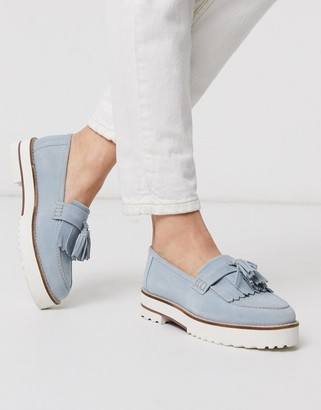 ASOS DESIGN Meze chunky fringed suede loafers in blue