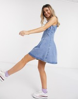 Asos Design DESIGN denim pintuck waist mini dress in blue
