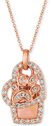 "LeVian Le Vian Nude Diamond Dog Paw Heart 20"" Pendant Necklace (7/8 ct. t.w.) in 14k Rose Gold"