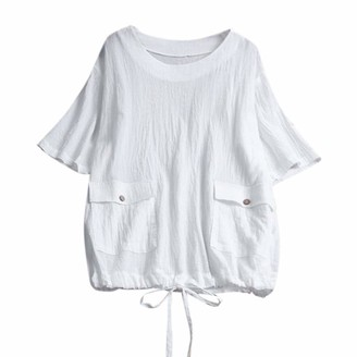 NEEDRA SALES Ladies Shirt Women Summer Ladies with Pocket Short Sleeve O-Neck Blouse Tops White