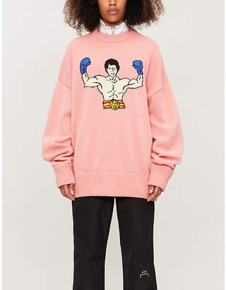 ADER ERROR Rocky Balboa graphic-pattern wool jumper