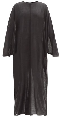 LA COLLECTION Epione Wool-gauze Maxi Dress - Black