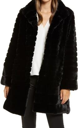 Gallery Grooved Faux Fur Walking Coat