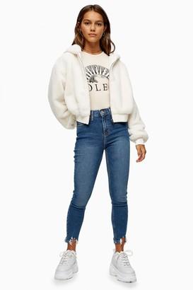 Topshop Womens Petite Mid Blue Jagged Hem Jamie Jeans - Mid Stone