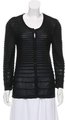 Yigal Azrouel Textured Mesh-Accented Cardigan