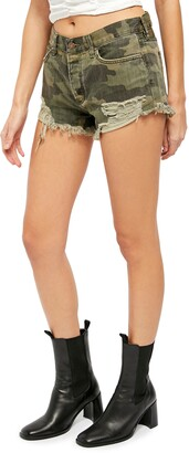 Free People Loving Good Vibrations Camo Print Denim Shorts