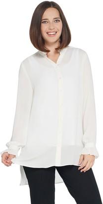 Susan Graver GRAVER Woven Button-Front Y-Neck Shirt