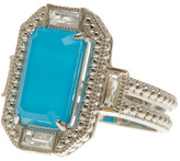 Judith Ripka Sterling Silver Baguette Wrap Elongated Emerald Cut Turquoise Ring - Size 7