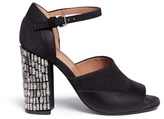 Marni Embellished heel suede and leather sandals
