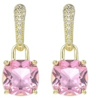 A&M A & M Gold-Tone Pink Topaz Accent Earrings