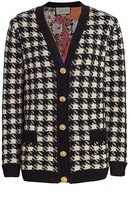 Gucci Oversized Houndstooth Cashmere & Silk V-Neck Cardigan