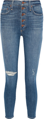 Alice + Olivia Cropped Distressed High-rise Skinny Jeans