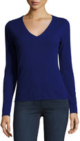 Neiman Marcus Cashmere V-Neck Long-Sleeve Pullover Sweater, Medium Blue
