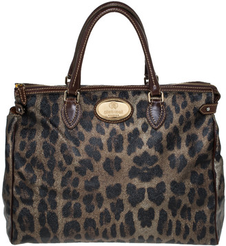 Roberto Cavalli Metallic Green/Brown Leopard Print Coated Canvas and Leather Zip Satchel